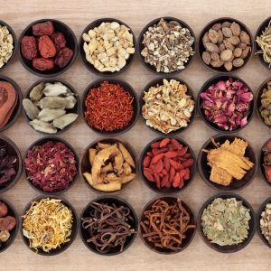 bowls of chinese herbs